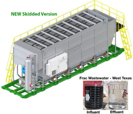 E-825 DAF Skidded showing Frac Wastewater Processing Results
